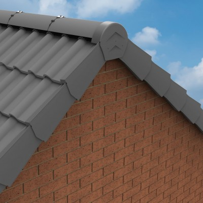 Grey Manthorpe Universal Ambidextrous Dry Verge Gable Apex Roof Tile Plastic End Cap