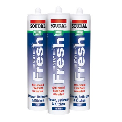 Soudal Stay Fresh Anti Mould Silicone Sealant 300ml - White - Clear - Ivory